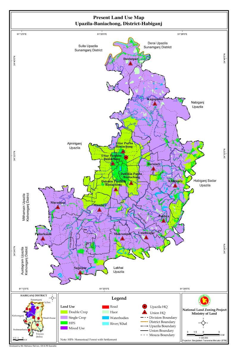 Baniachong Upazila Mouza Map Habiganj District Bangladesh
