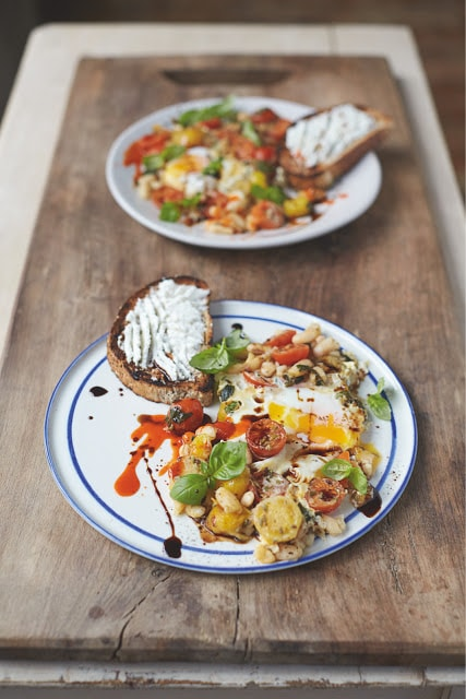 Jamie Oliver's Baked Eggs & Beans on a white plate
