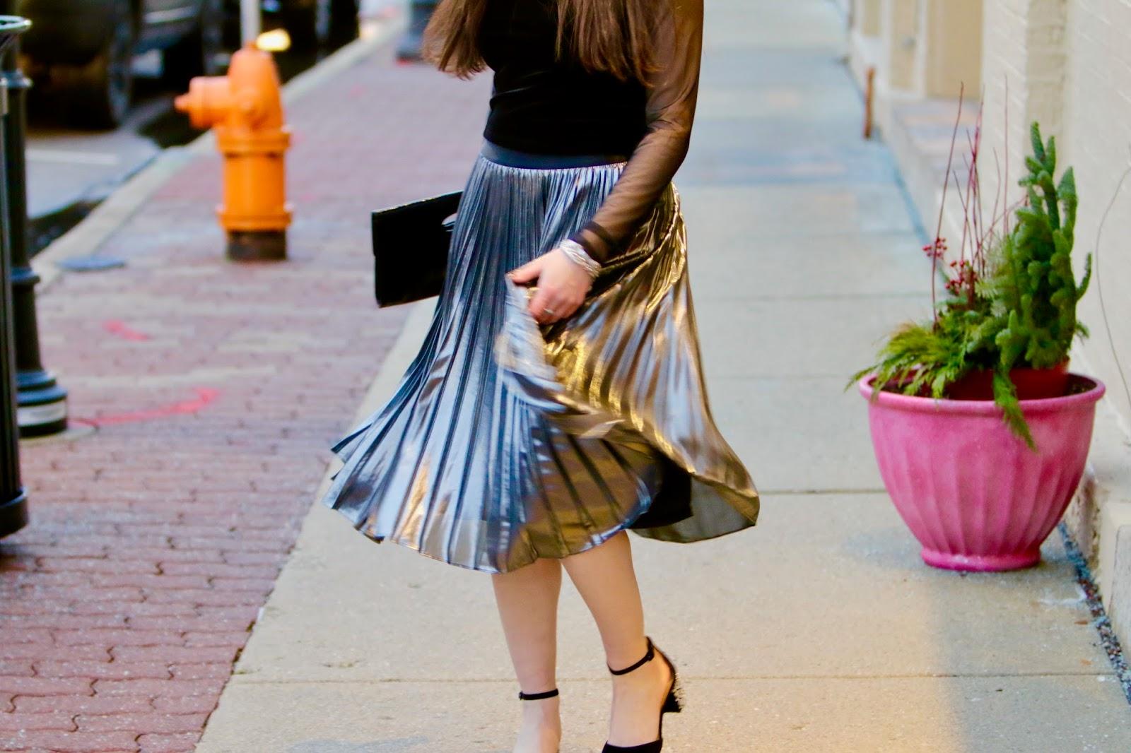 metallic midi skirt pics