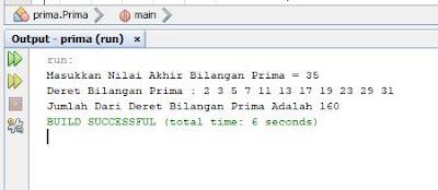 program java menampilkan deret bilangan prima di java dengan netbeans