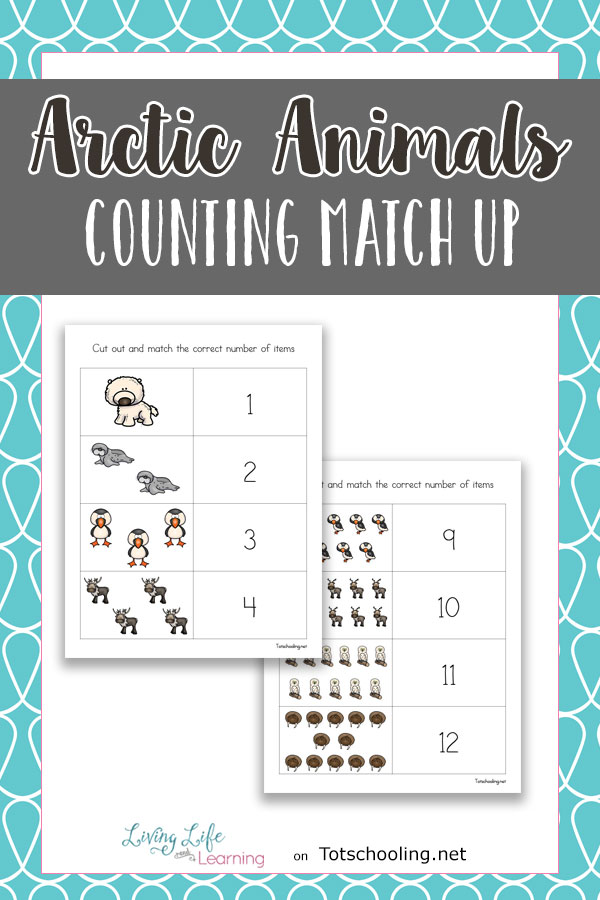 FREE Arctic animal themed counting cards for preschool and kindergarten kids to practice matching numbers and number words. Perfect Winter themed math center activity!