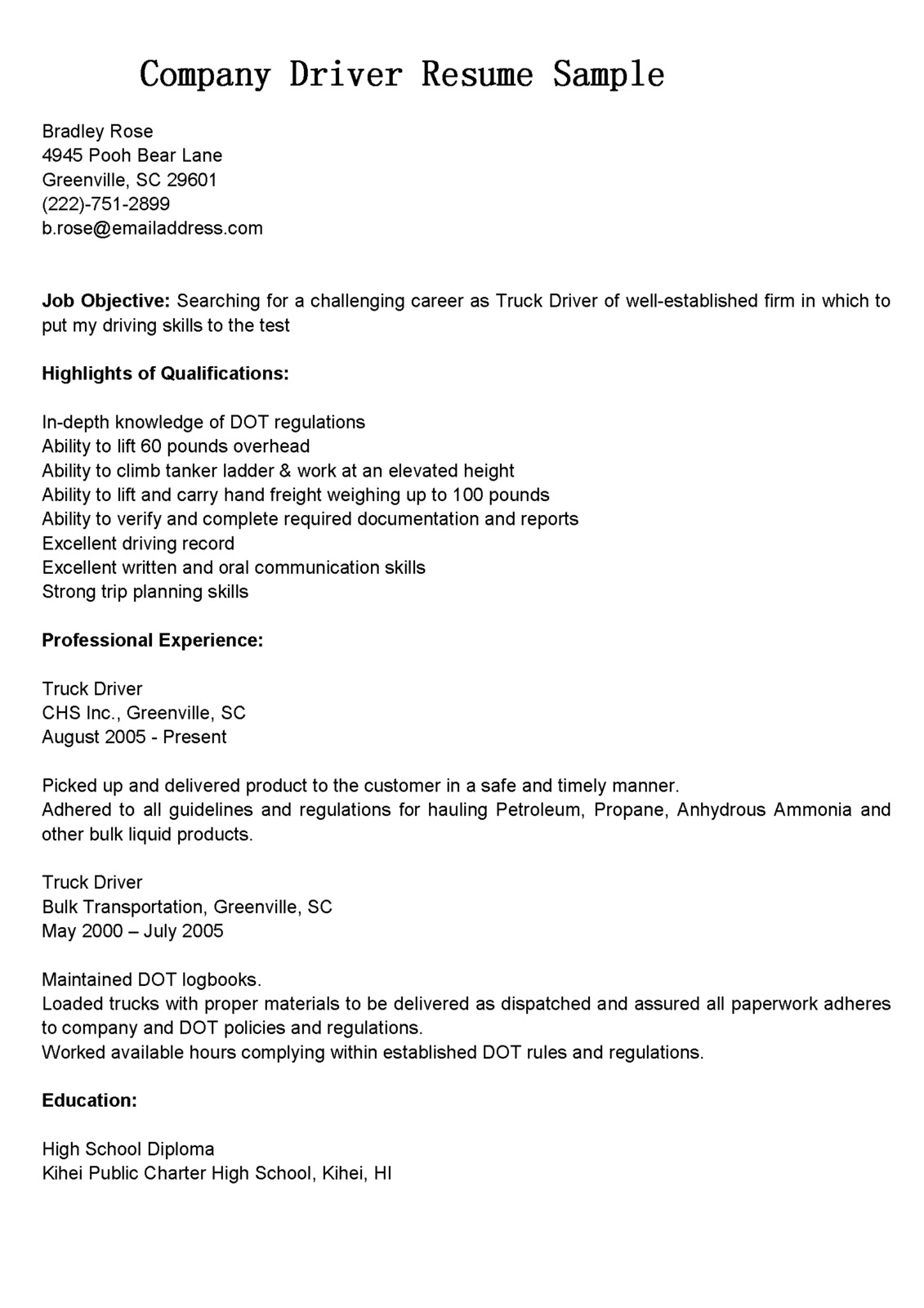 Resume For A Driver Driver Resumes Company Driver Resume Sample