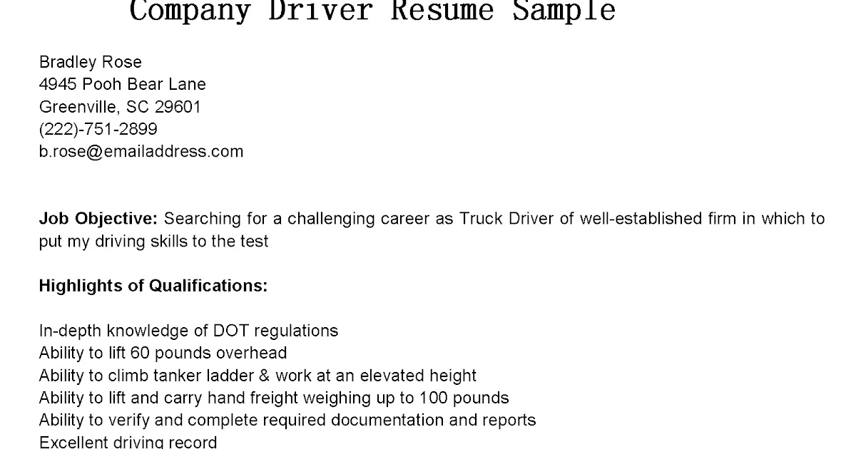 Courier Driver Resume Examples truck driver resume sample and – Sample Driver Resume
