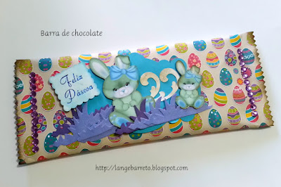 Lembrancinha para Páscoa  - barra de chocolate