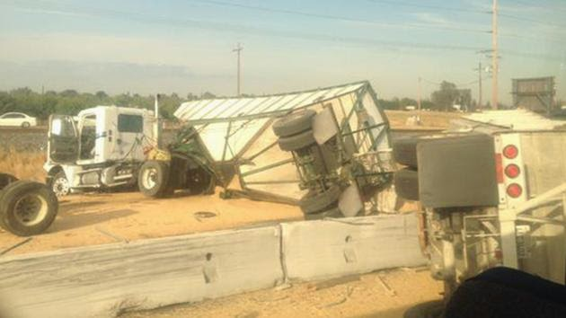 Double Big Rig Collision on Highway 99 at Buhach Road, in