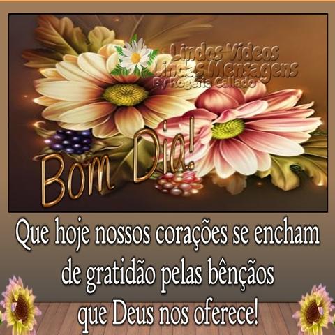 Que hoje nossos corações se encham  de gratidão pelas bênçãos  que deus nos oferece! Bom dia