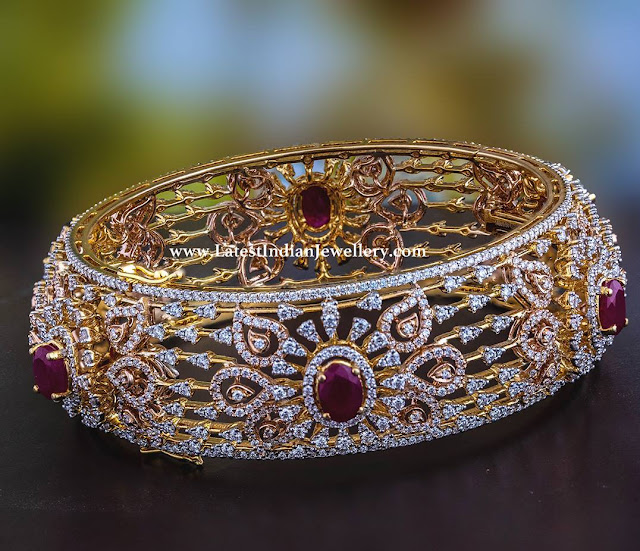 Stylish Diamond Ruby Bangle