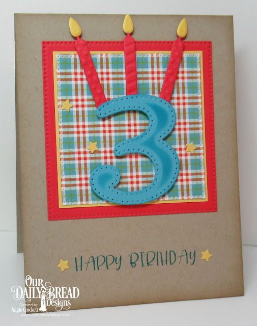 ODBD Today and Everyday, ODBD Custom Birthday Candles Dies, ODBD Custom Large Numbers Dies, ODBD Custom Pierced Squares Dies, ODBD Custom Sparkling Stars Dies, ODBD Birthday Brights Paper Collection, Card Designer Angie Crockett