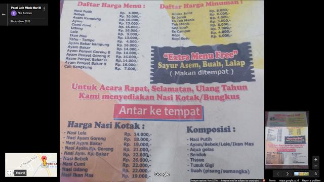 Pecel Lele Mbak Mar III Natar Lampung di Google Maps - Daftar Harga