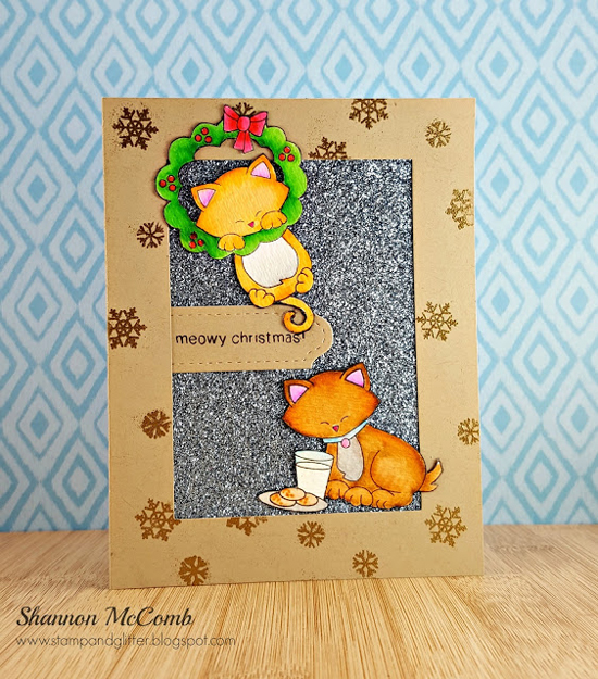 Kraft + Sparkle Challenge | Christmas Cat card by Shannon McComb | Newton's Holiday Mischief Stamp set by Newton's Nook Designs #newtonsnook