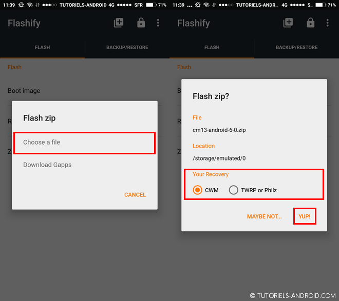 Flasher un .zip avec Flashify