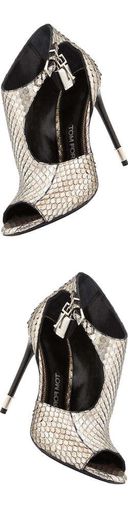 TOM FORD Anaconda Cutout Padlock Bootie, Antique Silver