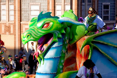 Mardi Gras Beads Displays an Dragons