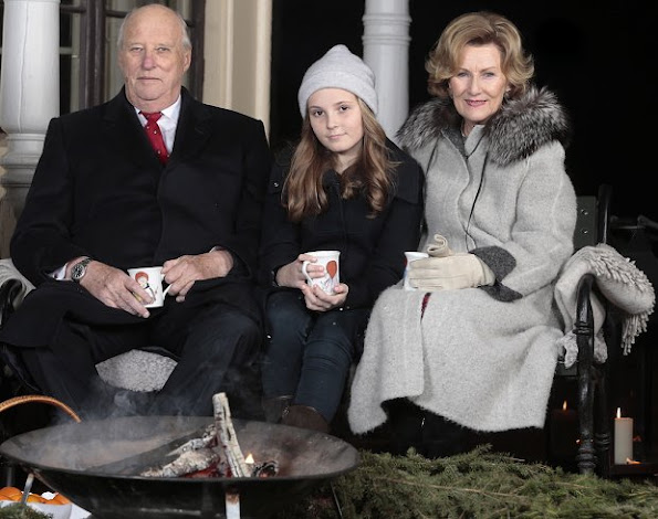 Princess Ingrid Alexandra and Crown Princess Mette-Marit wore Valentino coat, style of princess, fashions, wore gold diamond earrings, Prada leather boots