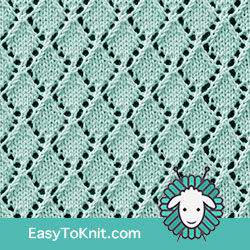 Eyelet Lace 81: Openwork Diamonds | Easy to knit #knittingstitches #knittingpattern
