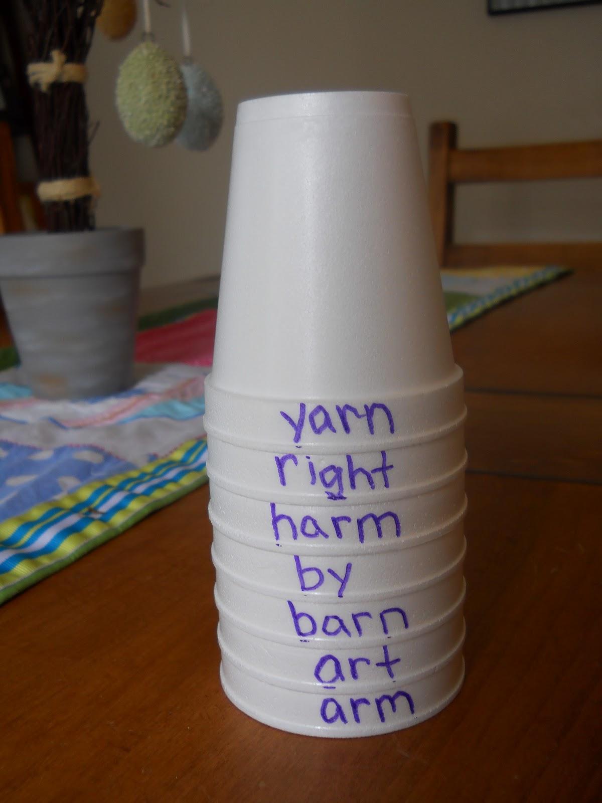 Mrs T S First Grade Class Alphabetical Order Cups