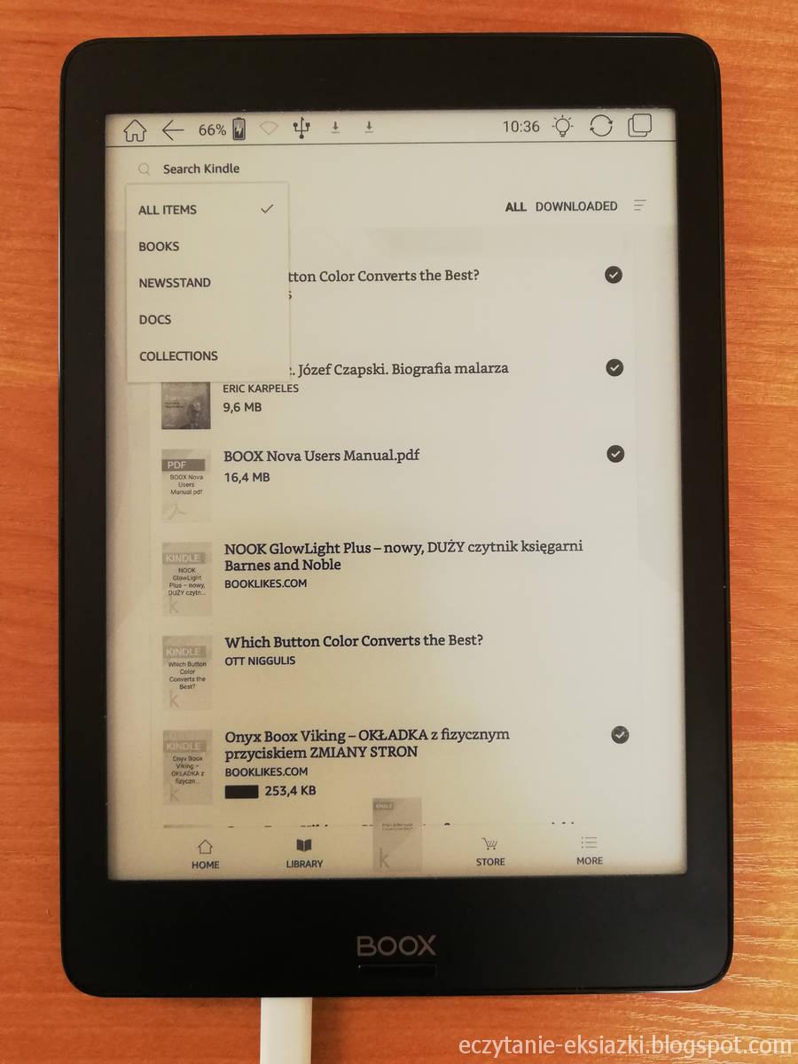 Biblioteka w aplikacji Kindle na Onyx Boox Nova