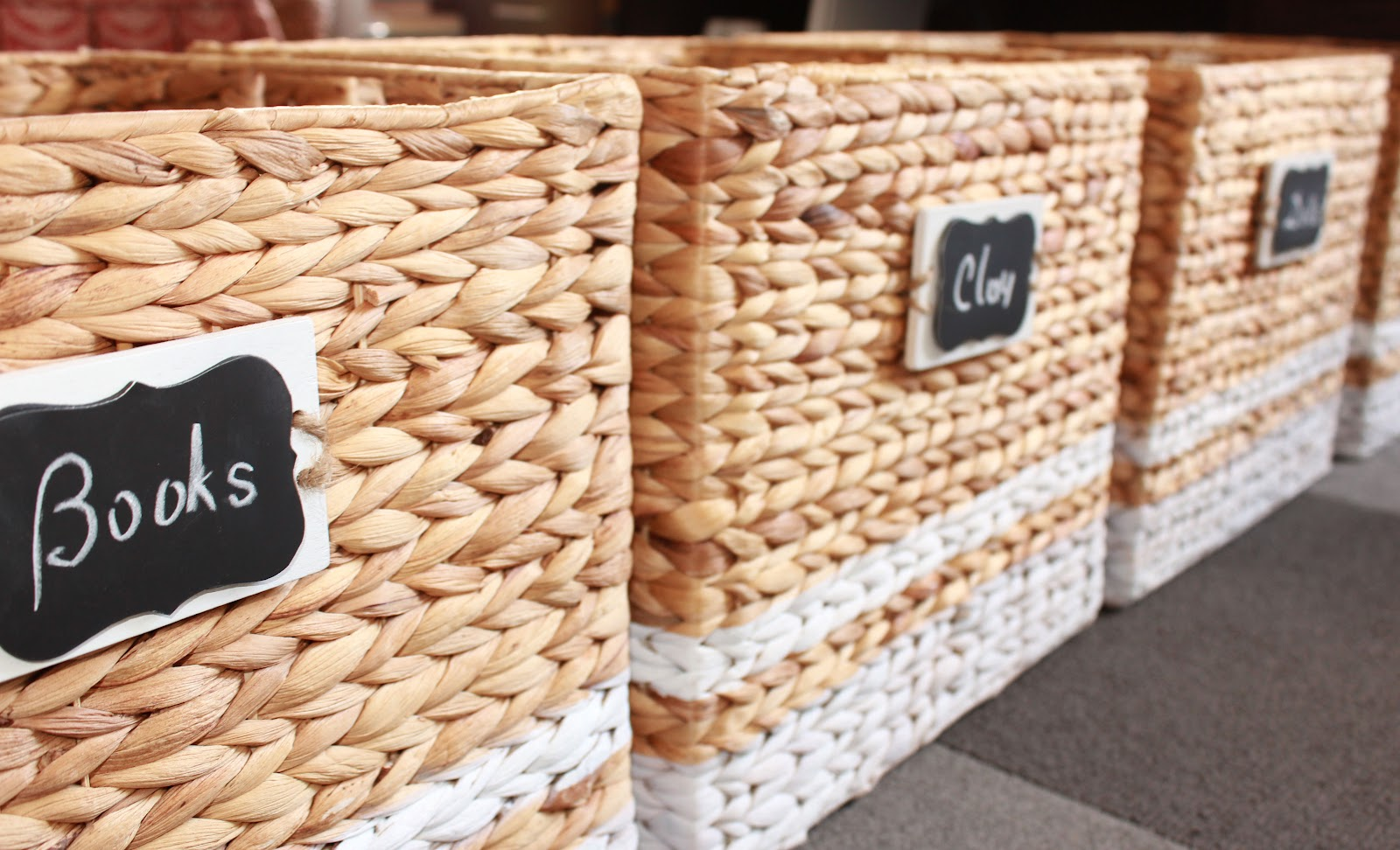 baskets were customized with paint and chalkboard tags
