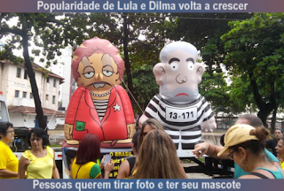 popularidade de Lula e Dilma volta crescer, Pessoas querem tirar foto e ter seu mascote