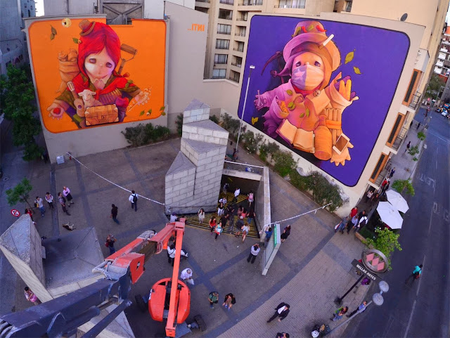 Two New Murals By Chilean Artist INTI in Santiago de Chile For The Hecho En Casa Street Art Festival. 1