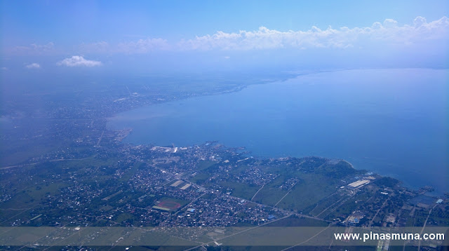 aerial view over General Santos City and Sarangani Bay