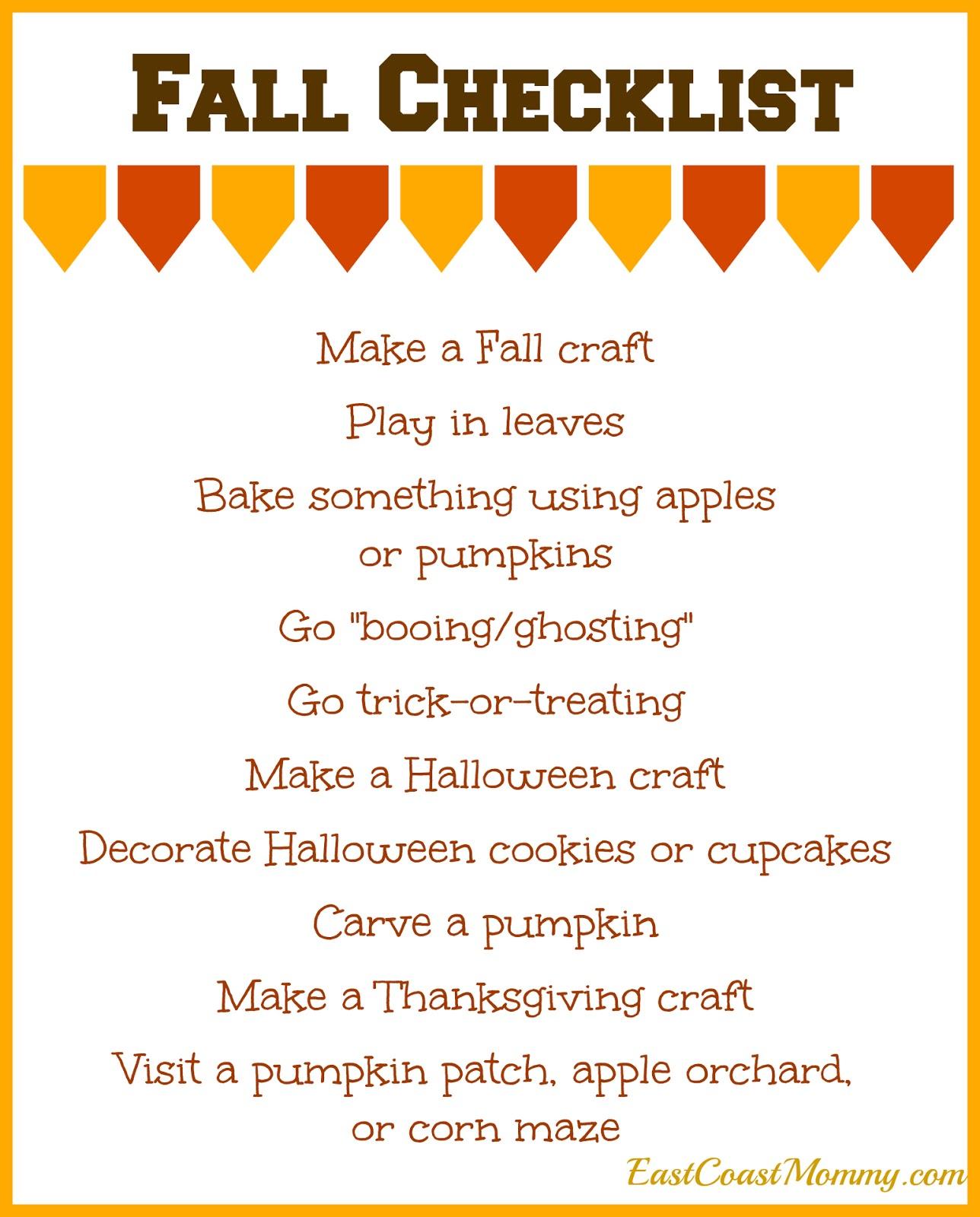 East Coast Mommy Simple Fall Checklist Free Printable