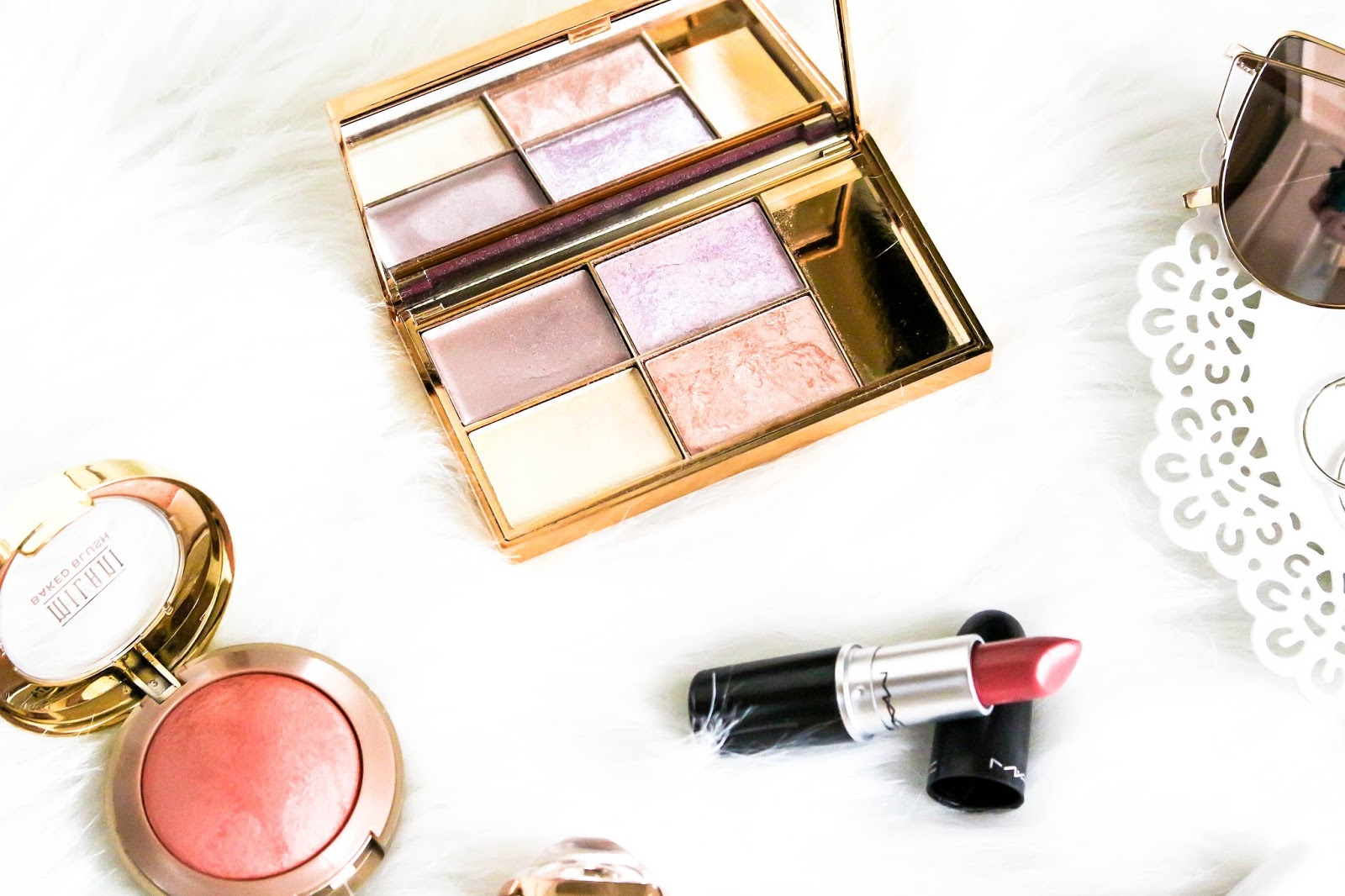 Sleek Solstice, Milani Luminoso blush and MAC lipstick Fanfare