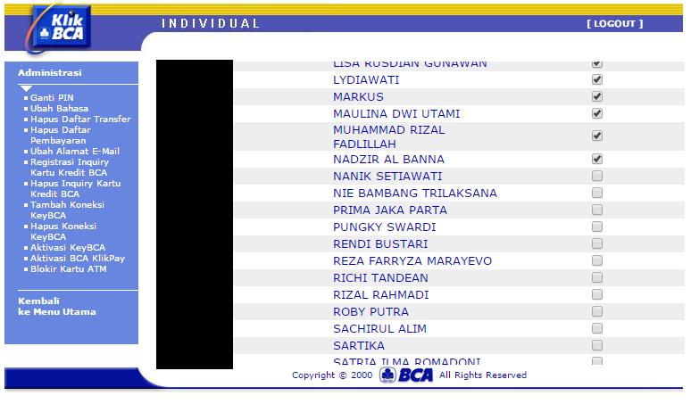 Cara menghapus daftar transfer rekening bank di klikbca stopboris Choice Image