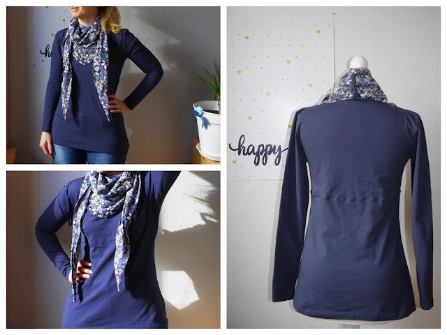 Collage - Frau mit Shirt Wintershirt mit Tuch Schnittmuster für Frauen von AnniNanni selbst genähtes Damen Oberteil Longsleeve aus Jersey mit Viskose Schal Blau Blumen