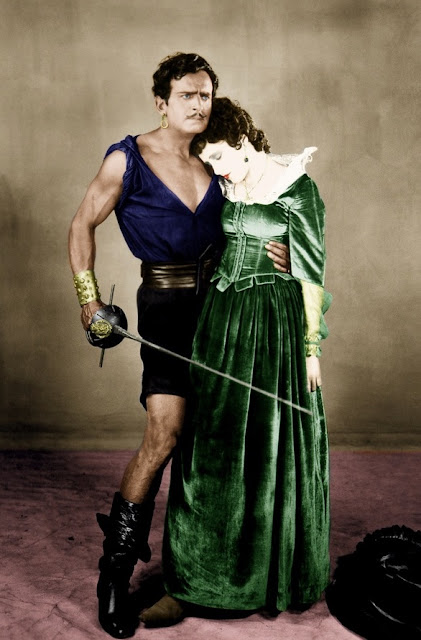 Colorized publicity photo of Douglas Fairbanks and Billie Dove in The Black Pirate, 1926. Freelance Piracy marchmatron.com
