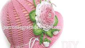 Patrones crochet de sombrero y aplique de flores - paso a paso