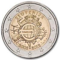 slovenia 2 euroa kolikko 10 vuotta euroja 2012