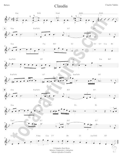 Claudia Partitura con Acordes en Letra Clave de Sol Treble Clef Sheet Music