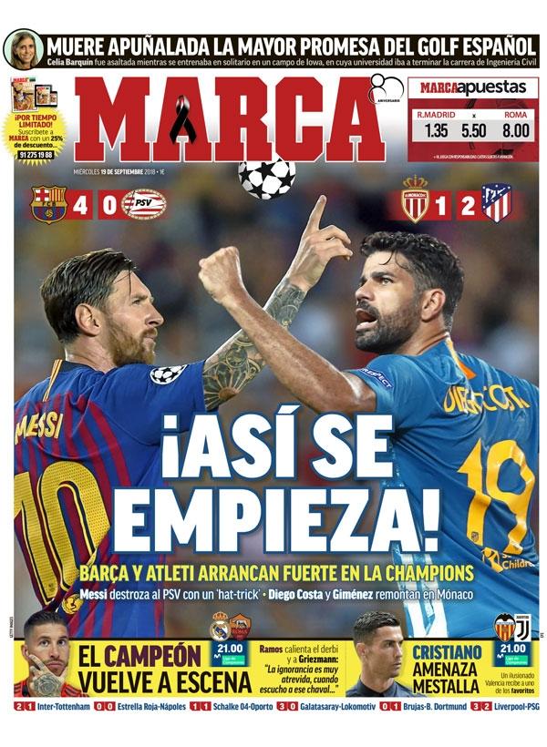 غلاف ماركا ليوم الأربعاء 19 سبتمبر 2018