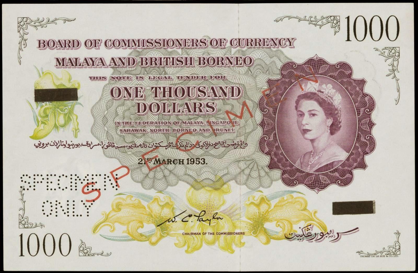 Malaya and British Borneo banknotes 1000 Dollars 1953 Queen Elizabeth II