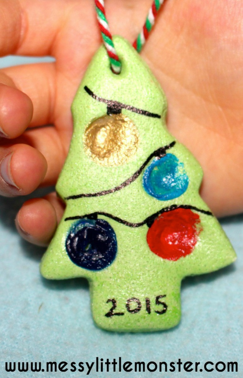 Fingerprint Christmas Tree - Salt Dough Ornament Recipe ...