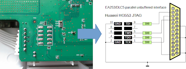 EA253 / DLC5 parallel unbuffered JTAG interface HG553