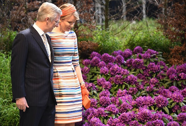 King Philippe and Queen Mathilde visit the 35th edition of the Floralien Flower Festival in Gent. newmyroyals, new myroyals, Mathilde wore Natan Dress