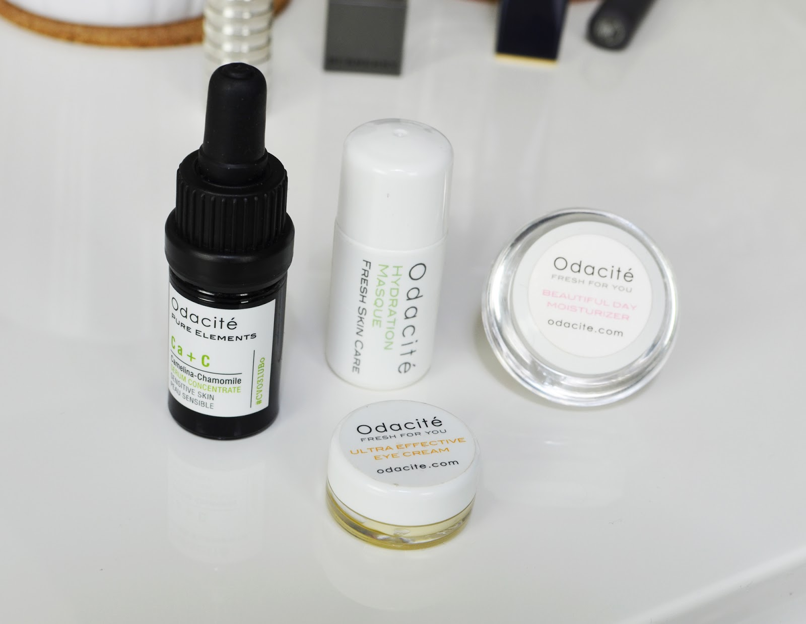 Four products from Odacité: a facial oil, an eye cream, a hydration masque, and a daytime moisturizer.
