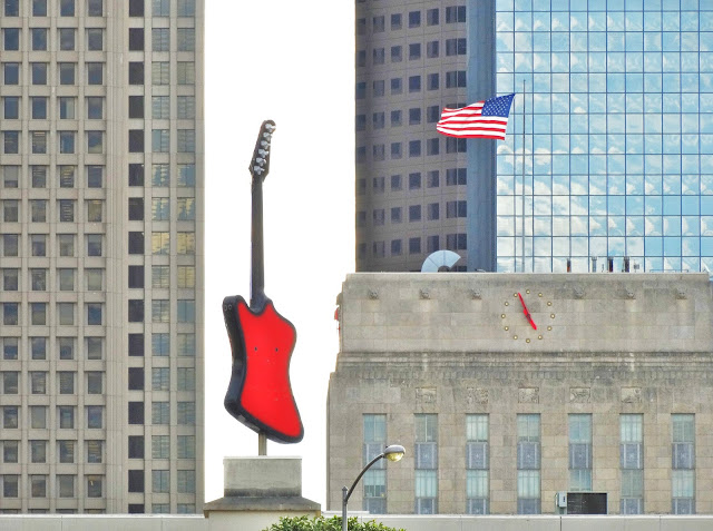 Houston Music Theme Pic: Hard Rock Cafe Guitar with City Hall and American Flag