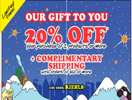 Kiehls 20% Off + Free Shipping Promo Code