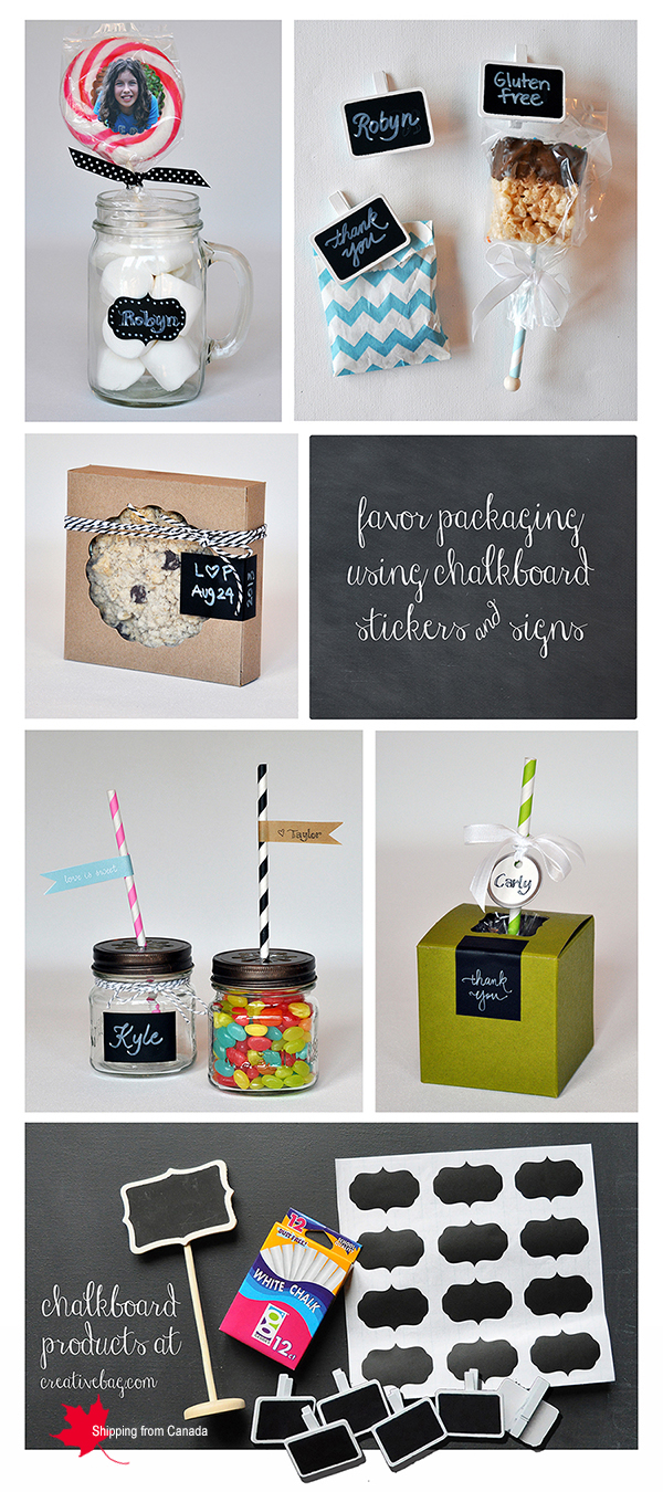 chalkboard sticker and clip signs on party and wedding favors from Creative Bag
