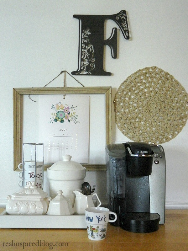 snowbound white walls kitchen coffee station gallery wall keurig