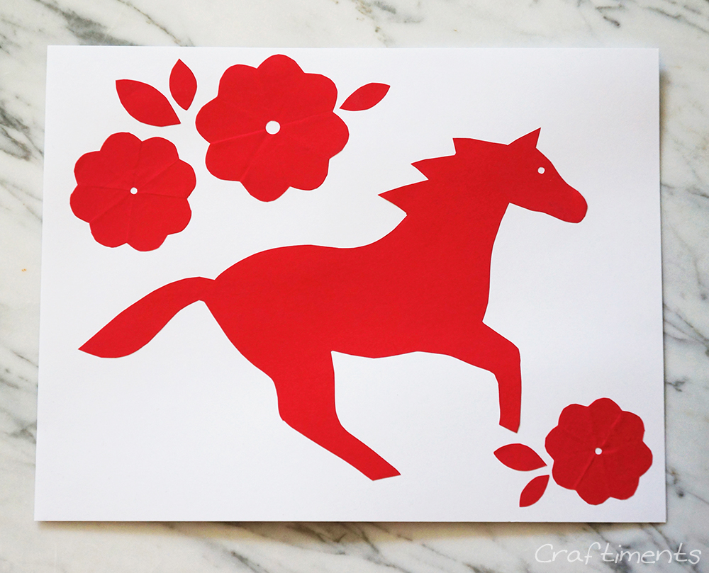 simple horse paper cutting glued to cardstock