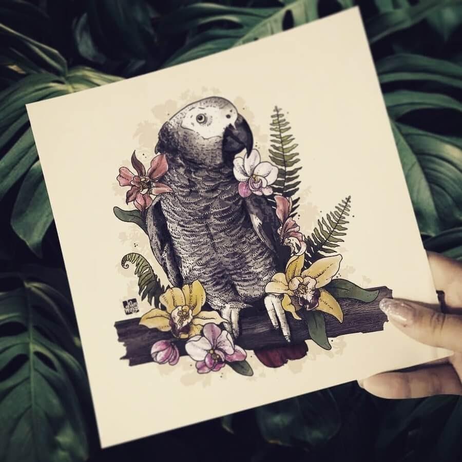 05-African-Gray-Parrot-elvenwings-Animal-Portraits-www-designstack-co