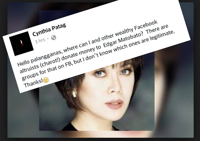 Cynthia Patag to donate money to Matobato
