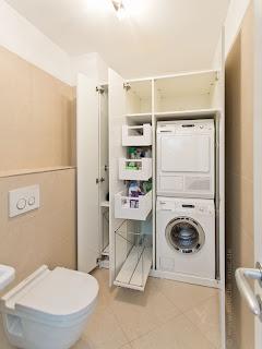Einbauschrank, Waschküche Waschmaschine und Trockner, Waschmaschine und Trockner stapeln, Lösung für Waschmaschine und Trockner, Ideen für die Waschküche