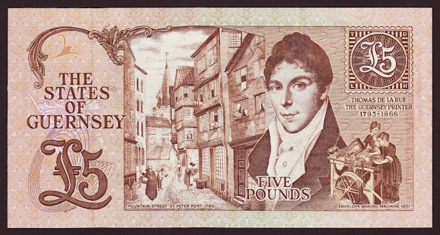 Guernsey Banknotes money currency 5 Pounds banknote 1991 Thomas de la Rue