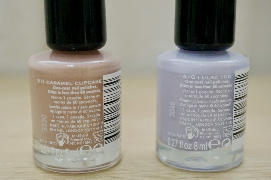 Rimmel 60 Seconds Nail Polish in Caramel Cupcake (L) and Lilac You (R)