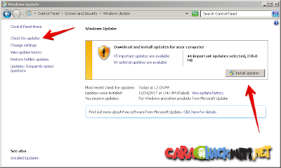 Cara Menginstall update terbaru windows 7
